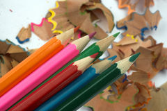 Pencils and chips Royalty Free Stock Photography