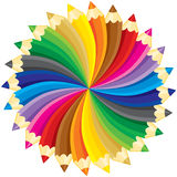 Pencils circle. Spectrum, colorful pencils circle, without gradients. Vector illustration vector illustration