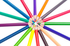 Pencils in a circle Royalty Free Stock Photos