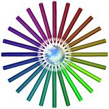 Pencils in a circle Royalty Free Stock Images