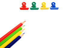 Pencils and clips isolated Royalty Free Stock Photo
