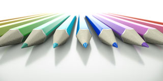 Pencils Closeup. An array of colored 3D pencils pointing into view Royalty Free Stock Photography