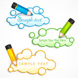 Pencils and cloud speech bubbles. Text Royalty Free Stock Photography