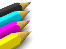 Pencils. CMYK. 3d Very beautiful three-dimensional illustration, figure Royalty Free Stock Photos