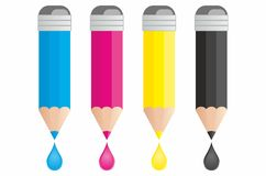 Pencils CMYK with a drop Stock Image
