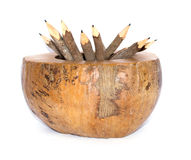 Pencils in coconut bowl Stock Photo