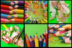 Pencils collage Royalty Free Stock Photo