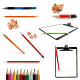 Pencils Collection Isolated on White. Includes pencil shavings and clipboards Stock Images