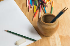 Pencils, color pencils and paper Stock Photography