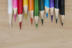 Pencils color on wood table Stock Images