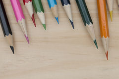 Pencils color on wood table Stock Photography