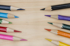 Pencils color on wood table Royalty Free Stock Photography