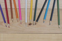 Pencils color on wood table Stock Image