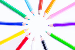 Pencils. Colored pencils in isolated white background stock photos