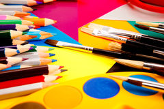 Pencils on colorful cardboard Royalty Free Stock Photography