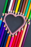 Pencils colour. Close up group of pencils colour and love shape Stock Image