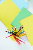 Pencils and copybooks Royalty Free Stock Photography