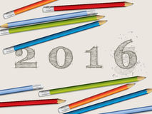 Pencils and corected 2016 text. Background with pencils and corected 2016 text royalty free illustration
