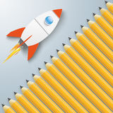 Pencils Cover Rocket Stock Images