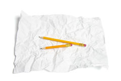 Pencils on Crumpled Paper Royalty Free Stock Photos
