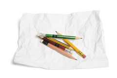 Pencils and Crumpled Paper Royalty Free Stock Images