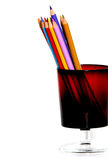Pencils in a Cup. Colorful pencils in a glass cup Stock Photography