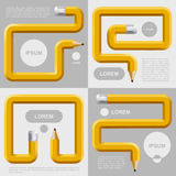 Pencils curved in different forms with places for text on gray Stock Image