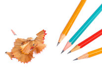 Pencils and cuttings isolated Royalty Free Stock Photo