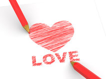 Pencils depicting the heart Royalty Free Stock Image
