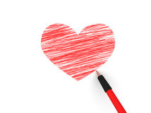 Pencils depicting the heart Stock Photos