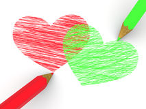 Pencils depicting the heart Royalty Free Stock Photo