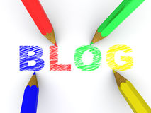 Pencils depicting text blog. 3d Royalty Free Stock Images