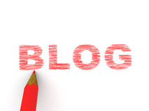 Pencils depicting text blog. On white background. 3d Royalty Free Stock Photography