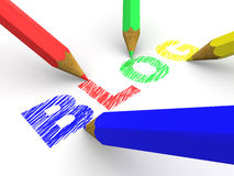 Pencils depicting text blog. 3d Royalty Free Stock Image