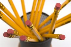 Pencils on Desktop. Closeup image of pencils in container on desktop stock photos