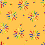 Pencils of different color - a seamless pattern Stock Photography
