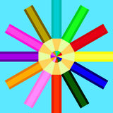 Pencils of different colors are arranged in a circle Royalty Free Stock Photo