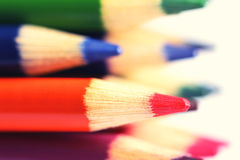 Pencils of different colors close up stock photos
