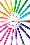 Multicolored pencils, brush for drawing. Pencils of different colors for drawing Royalty Free Stock Photo