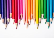 Multicolored pencils. Pencils of different colors for drawing Stock Photo