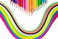Multicolored pencils, rainbow of paper. Pencils of different colors for drawing Royalty Free Stock Photos