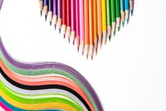 Multicolored pencils, rainbow of paper Stock Image