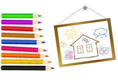 Pencils of different colors and a hand-drawn pictu Royalty Free Stock Photos