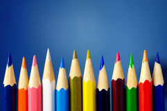 Pencils of different colors are in the range Stock Images