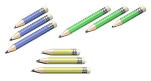 Pencils of different colors and sizes Stock Photo