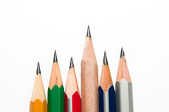 Pencils of different colors on a white Stock Images