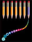 Pencils and dots illustration Royalty Free Stock Photo