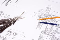Pencils at draft Stock Photography