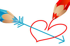Pencils drawing heart. Red and blue pencils drawing heart pierced by an arrow on a white background Stock Images