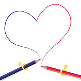 Pencils drawing heart shape Royalty Free Stock Photos